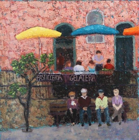 Kathleen Hall, On the Street in Vernazza, oil on canvas, 24 X 24, © The Artist
