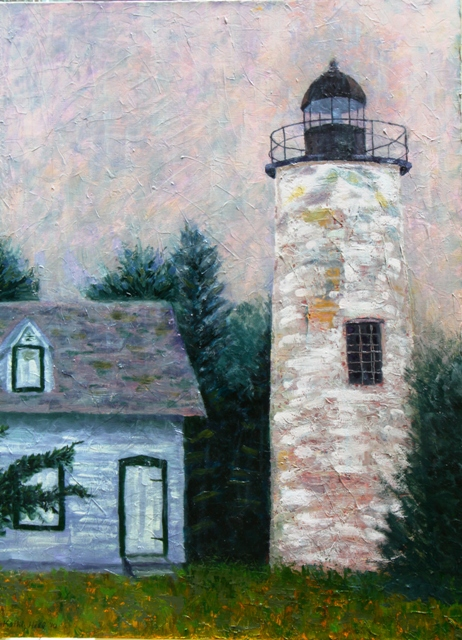 Baker Island Lighthouse oil painting by Kathleen Hall