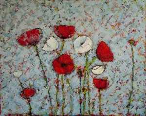 Kathleen Hall, Poppies II, oil on  canvas, 30 X 24 © The Artist