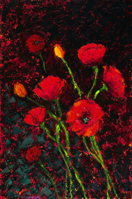 Kathleen Hall, Poppies I, oil on canvas, 24 X 36 © The Artist