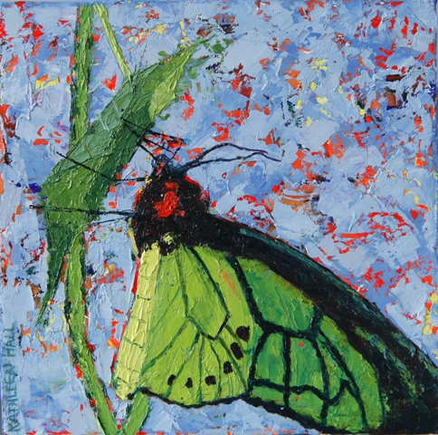 Kathleen Hall, Green Butterfly, oil on canvas, © The Artist