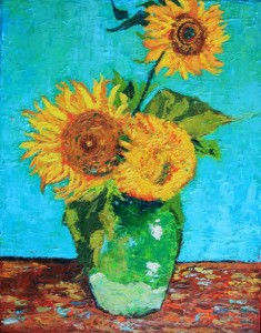 Kathleen Hall, 3 Sunflowers in a Vase (after Van Gogh), oil on canvas, 11 X 14, © The Artist