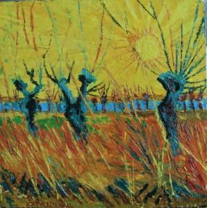 Kathleen Hall, Pollard Willows, oil on canvas, 10 X 10, © The Artist