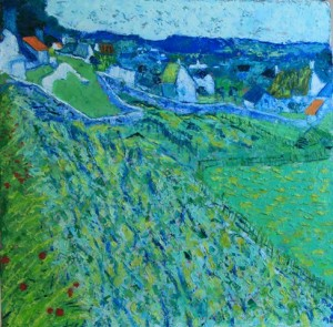 Kathleen Hall, Vineyard with a View of Auvers, oil on canvas, © The Artist