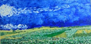 Wheat Field Under Clouded Sky, oil on canvas, 24 X 12, © The Artist