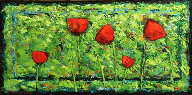 Poppy Party, oil on canvas, 24 X 12 © Kathleen Hall