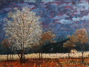 Kathleen Hall, Dusk in Taos, oil on canvas, 48 X 36 ©The Artist