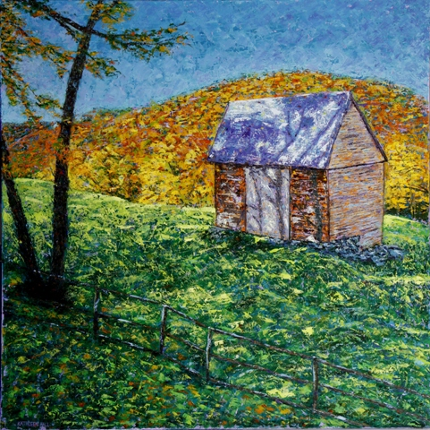 Kathleen Hall, Mountain Shack, oil on canvas, 30 X 30