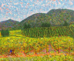 Napa, oil on canvas and mixed media, 24 X 18 © Kathleen Hall