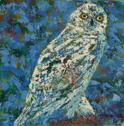 Gloria's Owl, oil on canvas, 8 X 8 (c)  Kathleen Hall