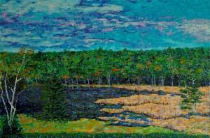 Marsh Along Little Long Pond, oil on canvas, 30 X 20 (c) Kathleen Hall