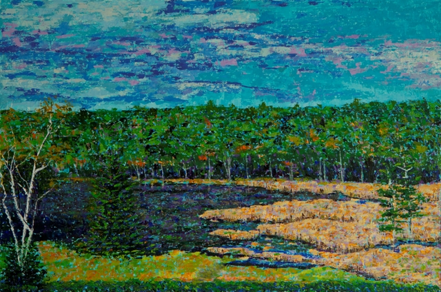 Marsh Along Little Long Pond, oil on canvas, 30 X 20 (c) Kathleen Hall