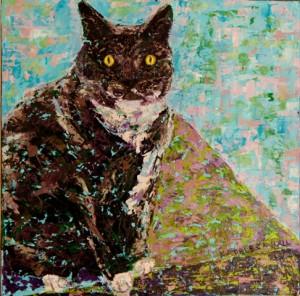 Sitting Pretty, oil on canvas, 8 X 8 (c) Kathleen Hall