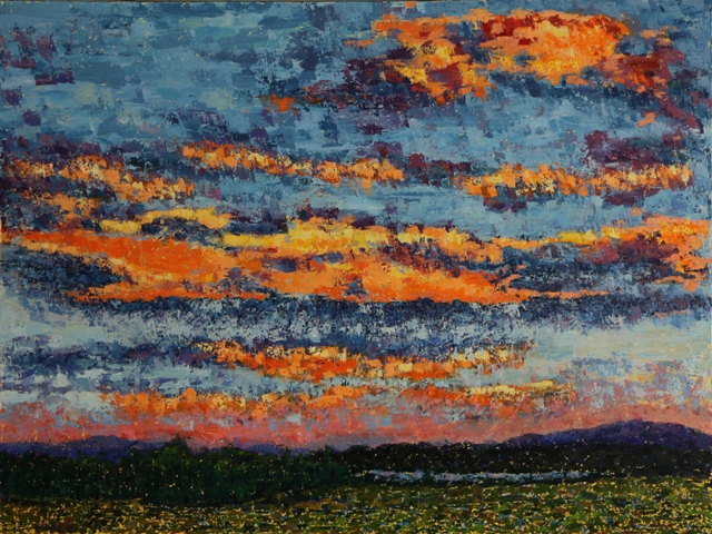 Sunset Over Thompson Island, oil on canvas, 40 X 30 (c) Kathleen Hall