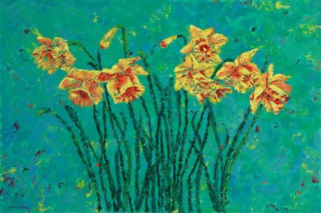Daffodils, oil on canvas, 30 X 20 (c) Kathleen Hall