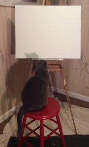 willow looking at canvas