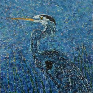Heron, oil on canvas, 24 X 24 (c) Kathleen Hall