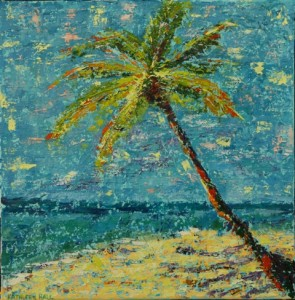 Palm by the Sea, oil on canvas, 10 X 10 (c) Kathleen Hall