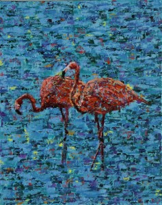 Flamingos, oil on canvas, 16 X 20 (c) Kathleen Hall