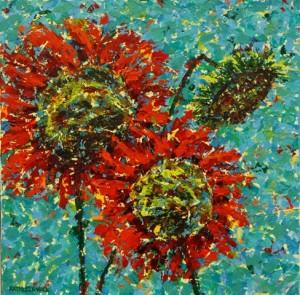Three Red Sunflowers, oil on canvas, 12 X 12 (c) Kathleen Hall