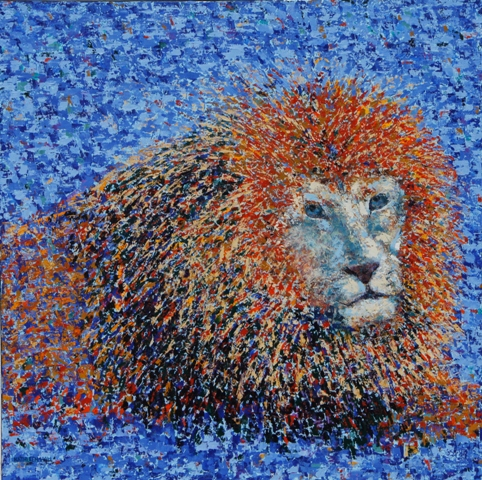 Lion, oil on canvas, 24 X 24 (c) Kathleen Hall