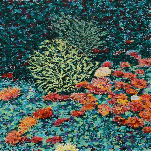Coral and Anemone II, oil on canvas, 24 X 24 (c) Kathleen Hall