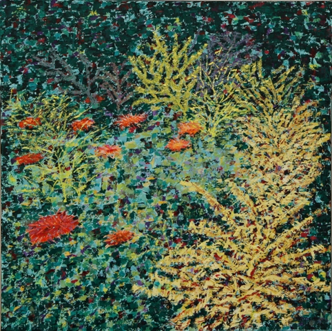 Coral and Anemone III, oil on canvas, 24 X 24 (c) Kathleen Hall