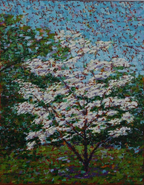 Jess's Dogwood, oil on canvas, 16 X 20 (c) Kathleen Hall