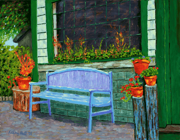 Bench on Firefly Lane oil painting by Kathleen Hall