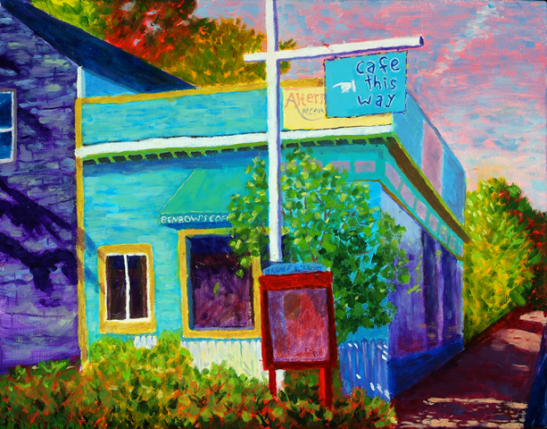 Mt. Desert Street, Bar Harbor oil on canvas by Kathleen Hall