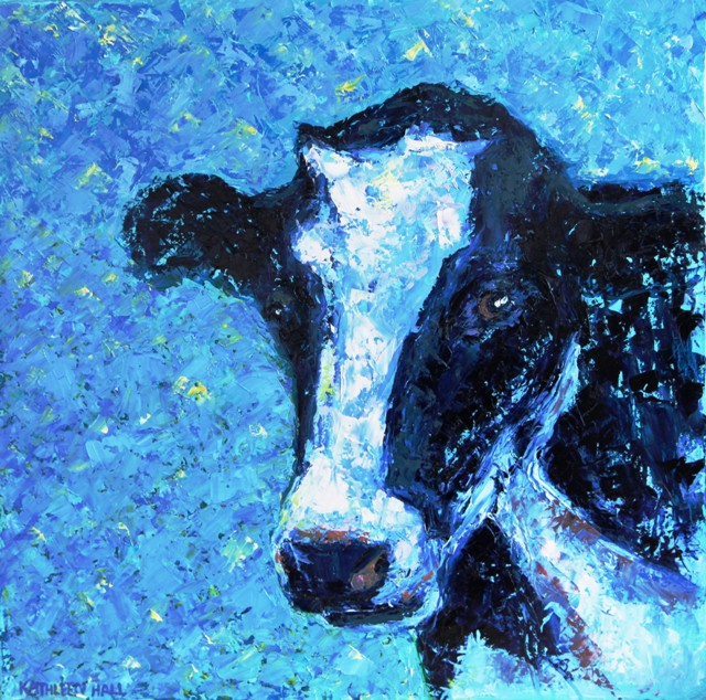 Portrait of a Cow - oil painting by Kathleen Hall