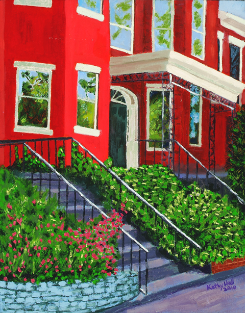 Red Town House oil on canvas by Kathleen Hall