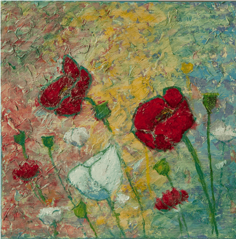 Red and White Poppies oil painting by Kathleen Hall