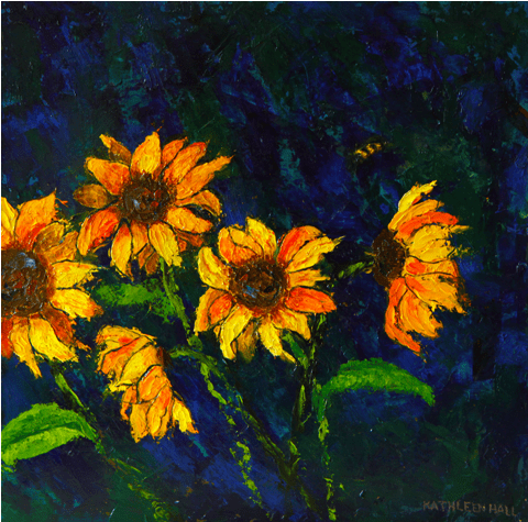 Sunflowers oil painting by Kathleen Hall