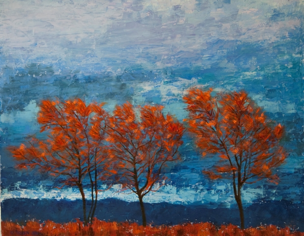 Kathleen Hall, Trio of Trees, oil on canvas, 30 X 24, © The Artist