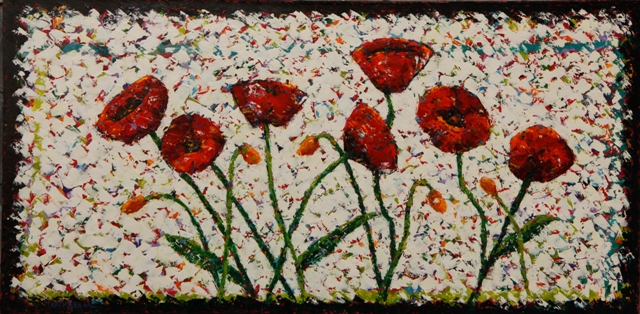Dancing Poppies, oil on canvas, 36 X 18 (c) Kathleen Hall