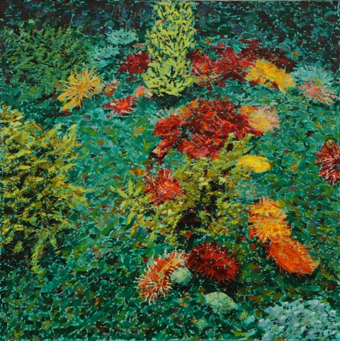 Coral and Anemone, oil on canvas, 24 X 24 (c) Kathleen Hall